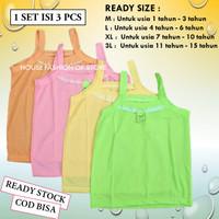 12 Kaos dalem Dalam singlet anak tank top anak perempuan cewek remaja - ISI 3 PCS, M