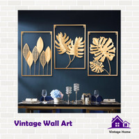 Vintage Wall Art Decoration Hiasan Dinding Rumah Kamar Gold Mewah