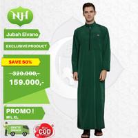 Baju Jubah Gamis Arab Muslim Pria Hijau M L XL Lengan Panjang JM3 - M