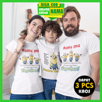 Baju Kaos Couple Keluarga Family Minion Gratis Cetak Sablon Nama