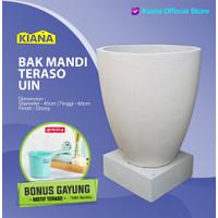 BAK MANDI TERASO GELAS + TATAKAN / MODEL UIN / UKURAN 50 X 45 cm