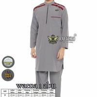 Baju Muslim Pria Koko Setelan Pakistan Azwan Original Free Tasbih Peci - abu abu, M