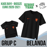 Kaos Naked & Free Bayi-Remaja Tema Euro 2021 Grup C (Belanda) Katun - Peach, Belanda, 3XS