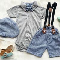 Baju setelan kemeja celana motif kotak dasi keren anak bayi cowok laki