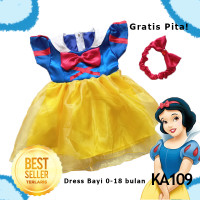 Dress Baju Gaun Snow White Bayi 0- 18 bulan Princess GRATIS PITA KA109