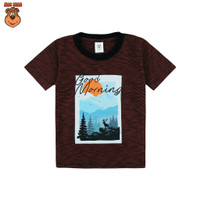 MacBear Baju Anak Laki-laki Kaos Stripe-A-Holic Good Morning - Merah, SIZE 5