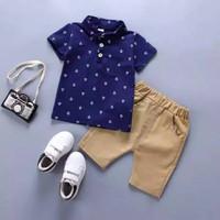 Wirles Setelan Jangkar Baju Anak Laki-laki Usia 1-5 Tahun - Navy, XS