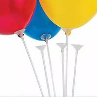 Stick Balon dan Cup/Gagang Balon Satuan/Balon Latex/Souvenir Ultah - 1 Pcs