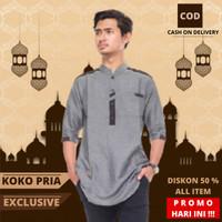 Baju Koko Kurta Pakistan Muslim Pria Dewasa Lengan Pendek Premium T 01 - Abu Tua, M