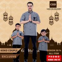 Baju Koko Couple Ayah Dan Anak Lengan Pendek Kokoh Muslim Kurta D 05 - White, XXL Anak