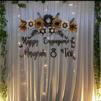 paper flower backdrop lamaran dekorasengagement wedding nikah aqiqah