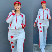 Baju Senam Setelan Aerobic Zumba Fitness Hijab Muslim Rok Abu Merah