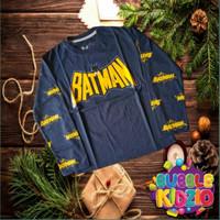 Baju Anak/Kaos Anak Laki-Laki Cowok Lengan Panjang Motif Bat Navy 1-10