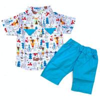 Baju setelan kemeja rompi celana motif pergi lucu bestseller bayi laki