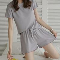 Piyama set import wanita Ice Silk Baju tidur wanita Daily Wear - Abu-abu