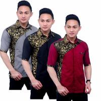 Baju Hem Kemeja Kombinasi Batik Pria Lengan Pendek Motif Terbaru