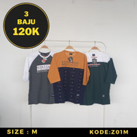 3-IN-1 Kaos Distro 3/4 Pria Keren Size M Baju Trend Streetwear Terbaru