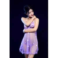 JS Lingerie Wanita Bahan Lace Tipis Kerah DeepV Neck Baju Sexy JS-4009 - Hitam, all size