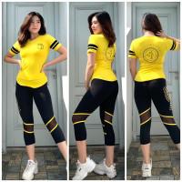 setelan olahraga wanita baju senam gym fitness yoga strong