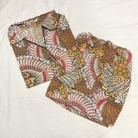 Setelan Piyama lengan pendek hotpants motif batik
