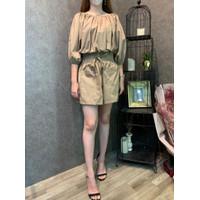 Set Sabrina Crop Top short pants [PREMiUM] - Mocca