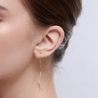 Rei - Anting Threader Rantai Perak 925 Silver 18k Gold Plated Earring