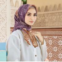 Terbaru !! Hijab Voal Segi Empat Motif Two Tone Ungu Jilbab Voal