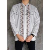 Baju Koko Muslim Size M L XL Lengan Panjang Semi Sutra Putih Khair