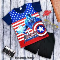 Setelan Baju Anak Laki laki Printing Captain America Thor