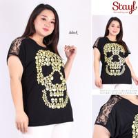 Atasan wanita Kaos sablon Jumbo LD 116 XXXL Grosir Kaos Bigsize Skull