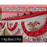 Bendera merah Putih Umbul Umbul Hias Bekron Bekdrop Garuda Ukuran Full - 5 GELOMBANG