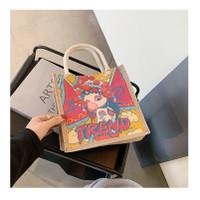 Tas Kanvas Jepang Viral Tas Bento/Tas Santai/Tas Fashion/Motif Cute - bubblegum girl