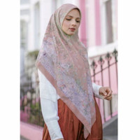 Terbaru !! Hijab Voal Segiempat Motif British Peach Jumbo Size 130x130
