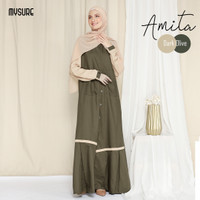 AMITA DRESS SIZE XXXL/AMITA GAMIS/GAMIS DRESS PREMIUM/GAMIS SYARI - Dark Olive, XXXL