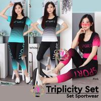 Triplicity Set Sport / Setalan Baju Murah / Baju senam import Gym Yoga