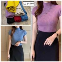 Kaos Rajut import C815 lengan pendek / Knit Top /Baju atasan wanita