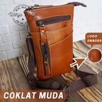 Tas kulit pria Waistbag genuine leather 100% kulit sapi asli - Cokelat Muda