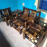 meja kursi bambu set bangku