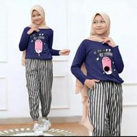 setelan baju celana muslim anak perempuan ice cream usia 9 10 11 tahun