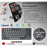 Keychron K2 ver2 Hotswap RGB PLASTIC Frame Dark - Light Grey Keycap - Brown Switch