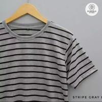 Kaos Stripe Polos Pria Medium Grey Abu-Abu Garis Hitam Belang - L