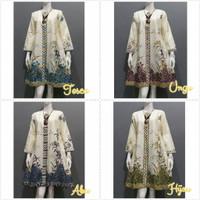 Baju Wanita Tunik Terbaru Motif Batik Putih