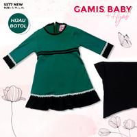 Baju Gamis Bayi Perempuan Set Hijab - Gamis Baby Usia 3 - 18 Bulan - Biru Tosca, 3-6 Bulan
