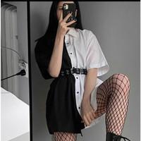 ONNIEFASHION Gothic Two Tone Dress Atasan Kemeja Wanita