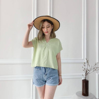 Makaroni Vneck Crop Top Wanita Casual Big Size Rayon Lengan Pendek