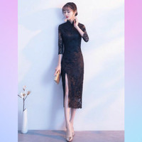 Midi Dress Cheongsam Hitam - Bahan Satin Komb Brukat - Dress Pesta