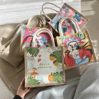 Tas Kanvas Jepang Viral Tas Bento/Tas Santai/Tas Fashion/Motif Cute