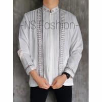Baju Koko Muslim Size M L XL Lengan Panjang Semi Sutra Putih Khaizan
