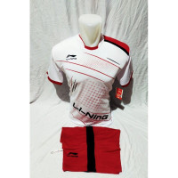Baju badminton lining terbaru , stelan kaos bulutangkis dewasa - Putih, M