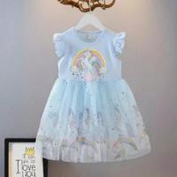 Dress Unicorn Pakaian Baju Anak Perempuan Cewek Rok Tutu Import